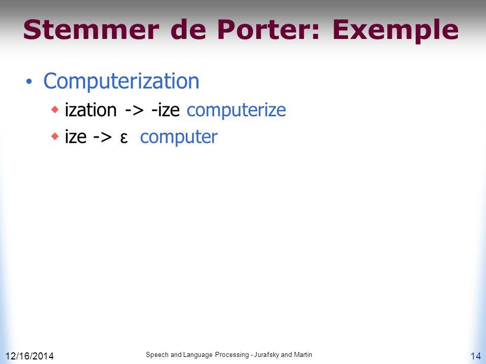 Stemmer de Porter: Exemple