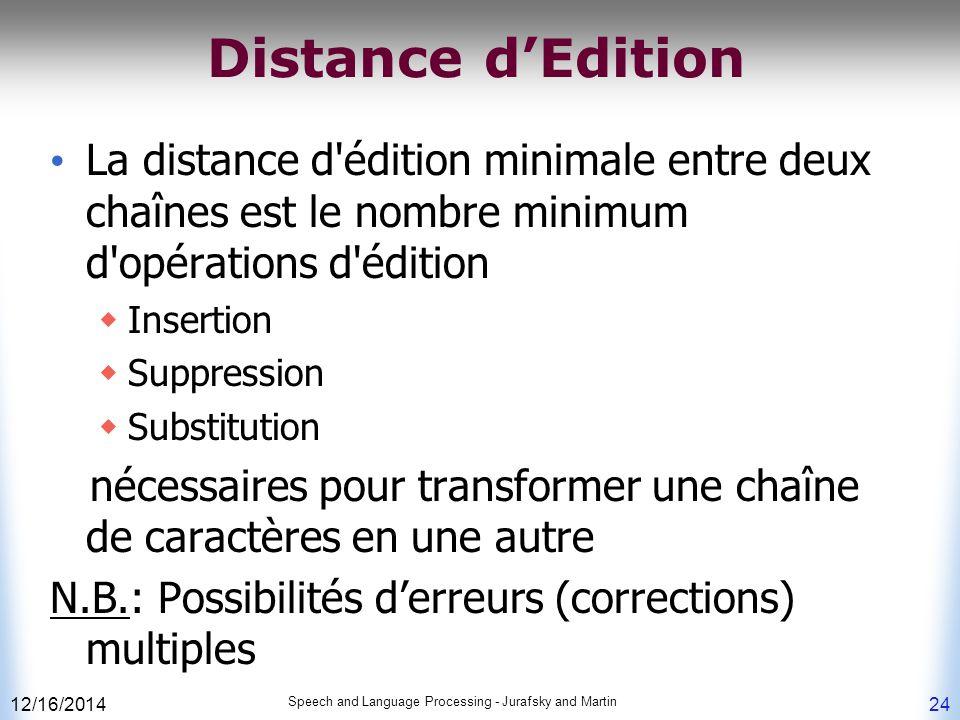 Distance d'Edition La distance d édition minimale entre deux chaînes est le nombre minimum d opérations d édition.