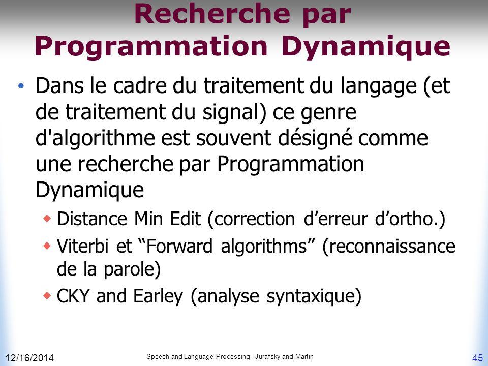 Recherche par Programmation Dynamique
