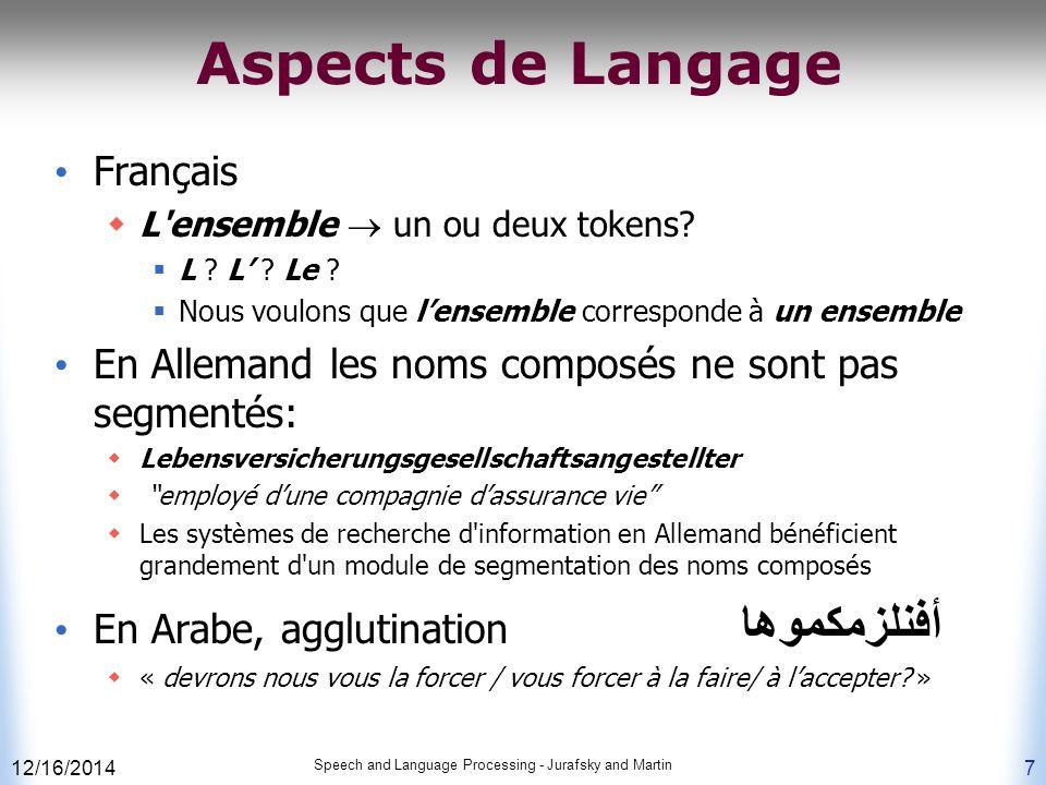 Aspects de Langage Français