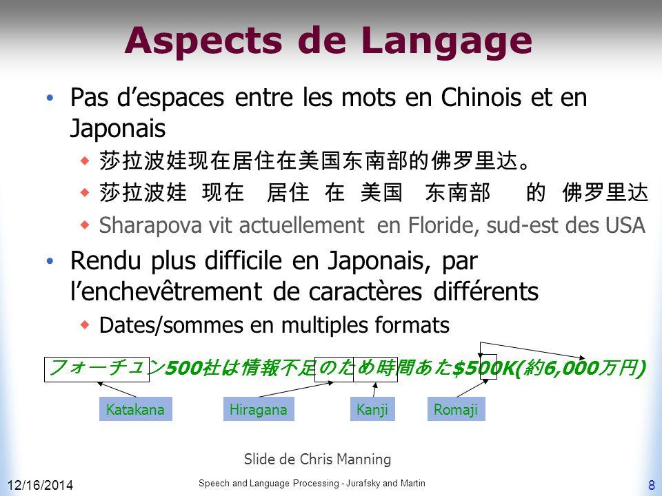 Aspects de Langage Pas d'espaces entre les mots en Chinois et en Japonais. 莎拉波娃现在居住在美国东南部的佛罗里达。 莎拉波娃 现在 居住 在 美国 东南部 的 佛罗里达.