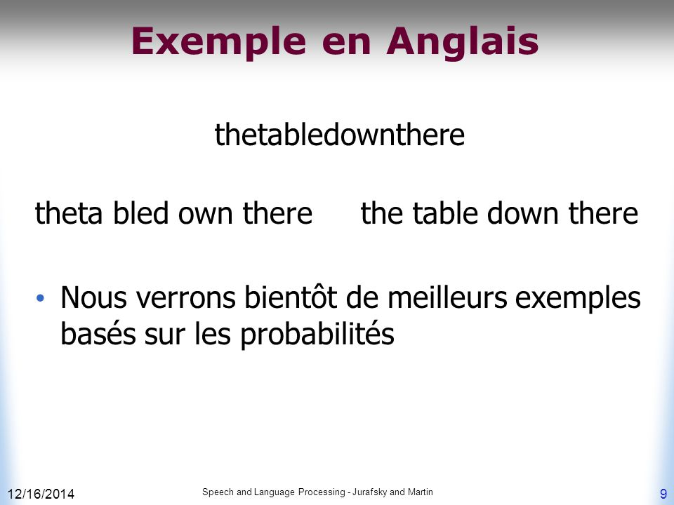 Exemple en Anglais thetabledownthere theta bled own there