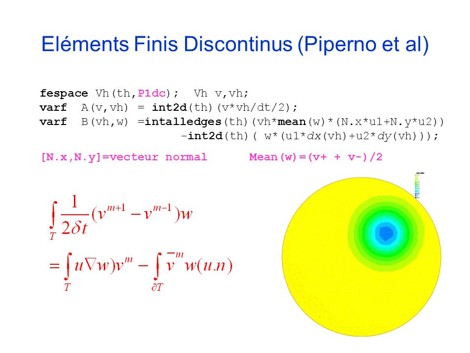 Eléments Finis Discontinus (Piperno et al)