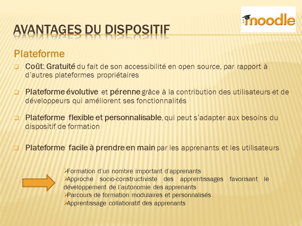 Avantages du dispositif