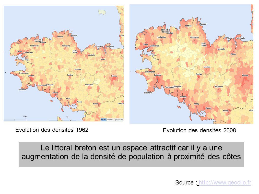 Evolution des densités 1962