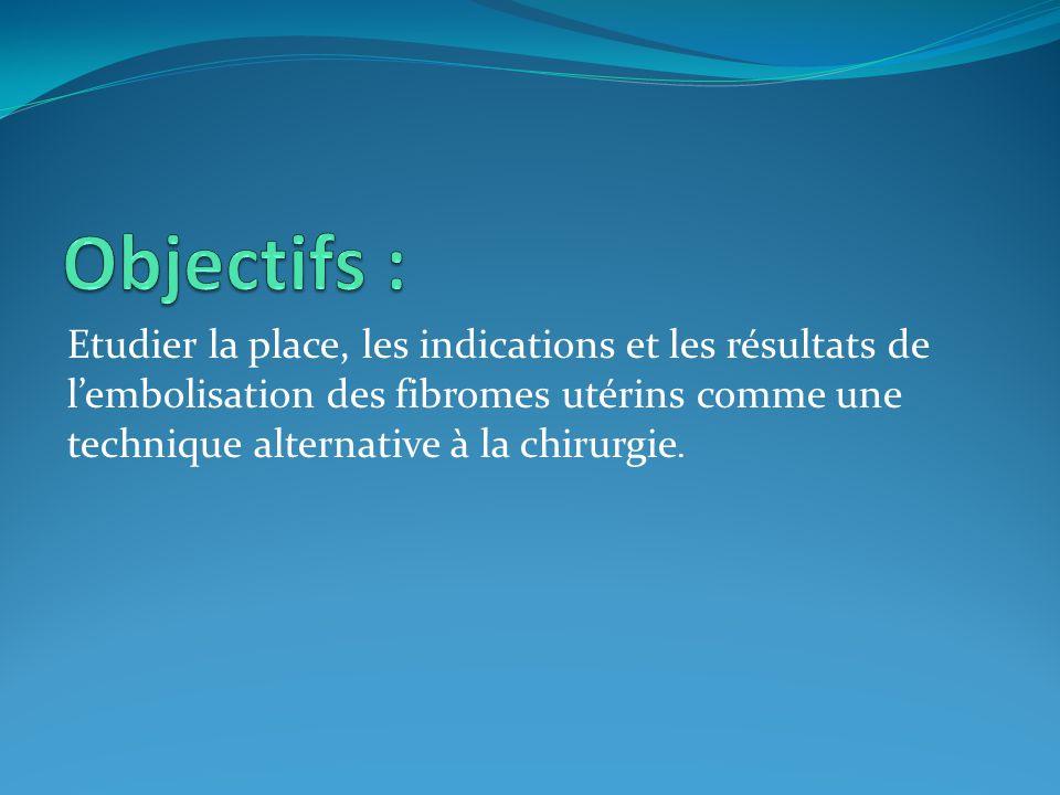 Objectifs : Etudier la place, les indications et les résultats de l'embolisation des fibromes utérins comme une technique alternative à la chirurgie.