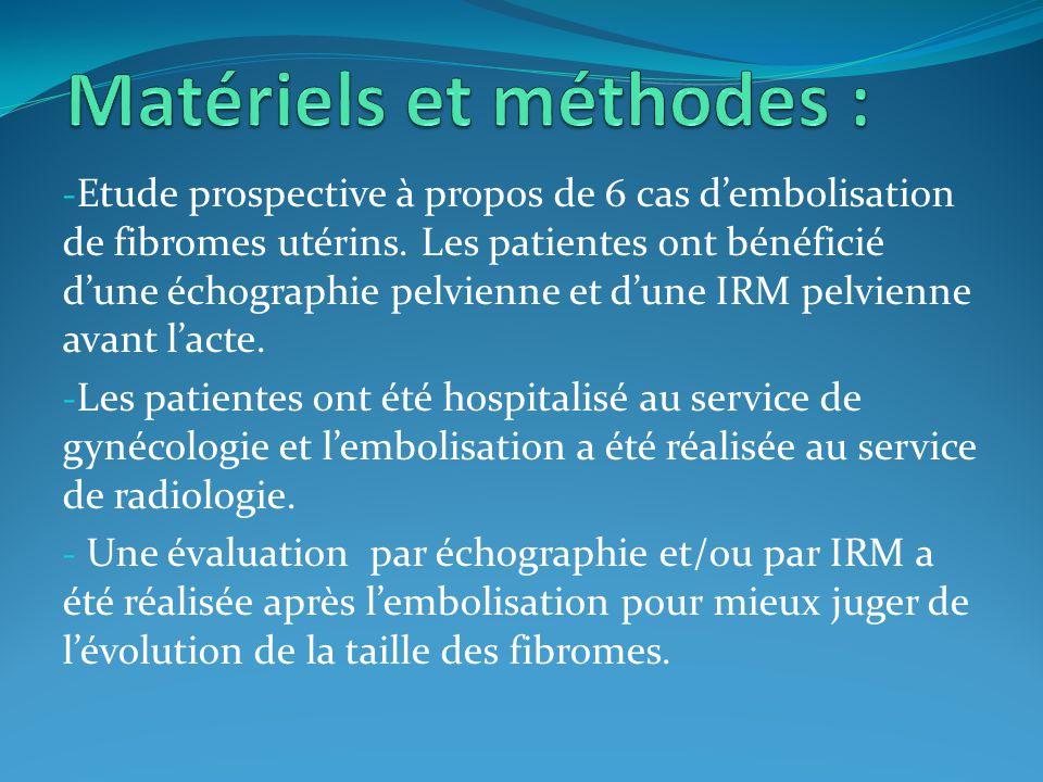 Matériels et méthodes :