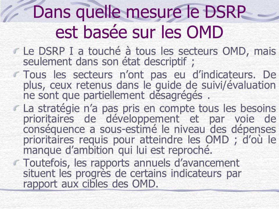 Dans quelle mesure le DSRP est basée sur les OMD