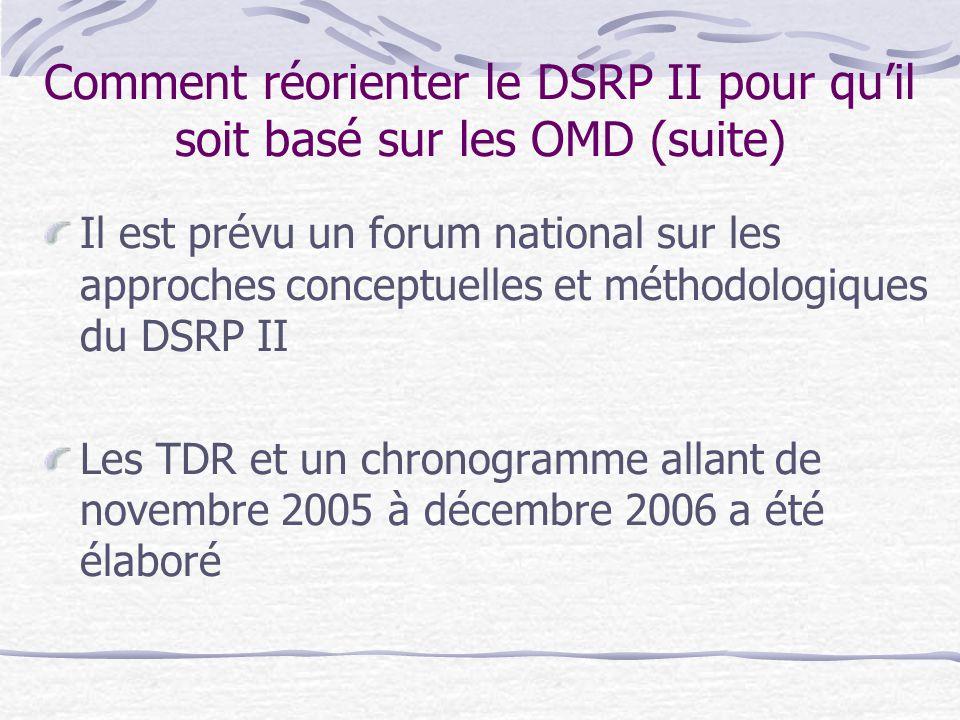 Comment réorienter le DSRP II pour qu'il soit basé sur les OMD (suite)
