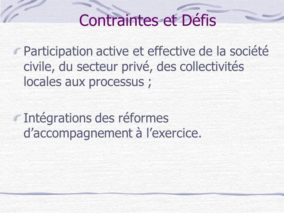 Contraintes et Défis Participation active et effective de la société civile, du secteur privé, des collectivités locales aux processus ;