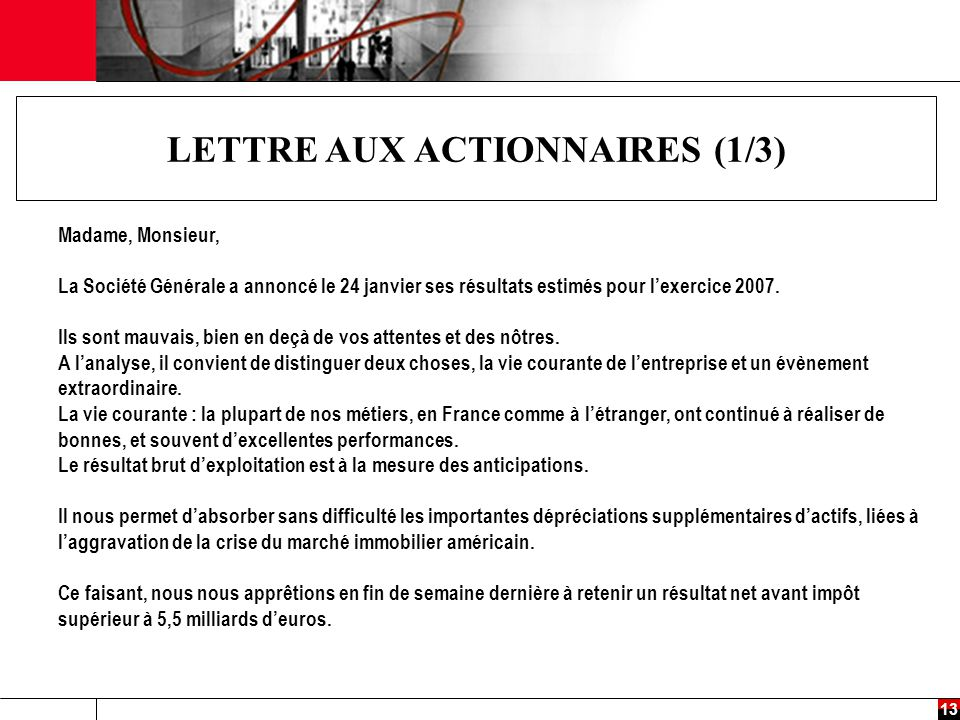 LETTRE AUX ACTIONNAIRES (1/3)