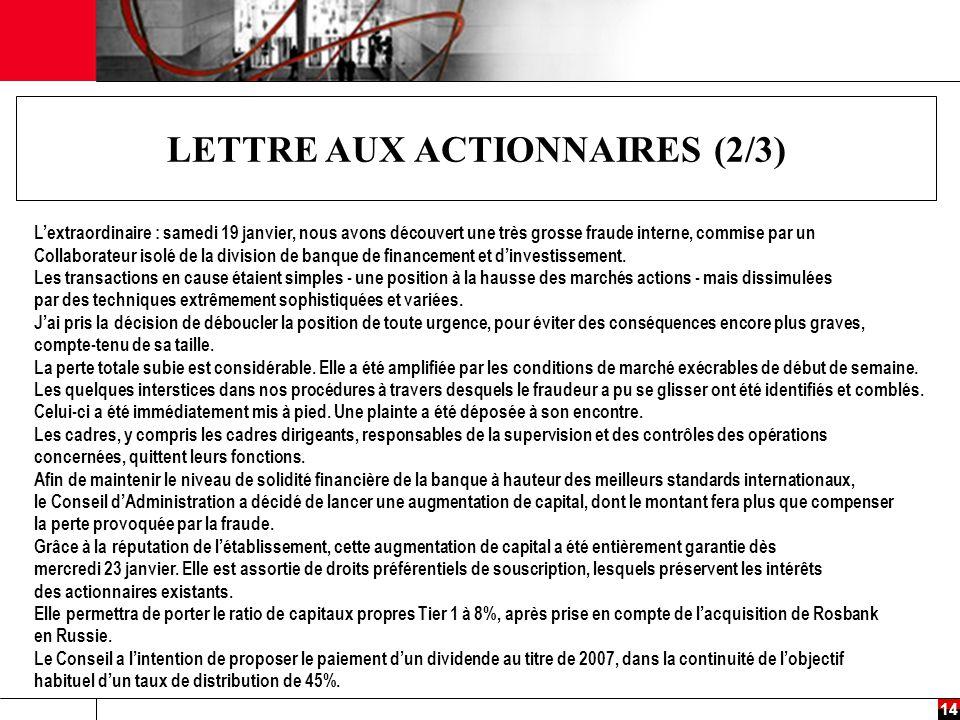 LETTRE AUX ACTIONNAIRES (2/3)
