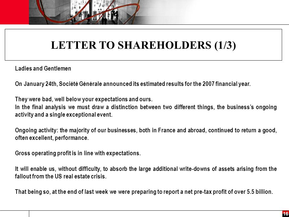 LETTER TO SHAREHOLDERS (1/3)