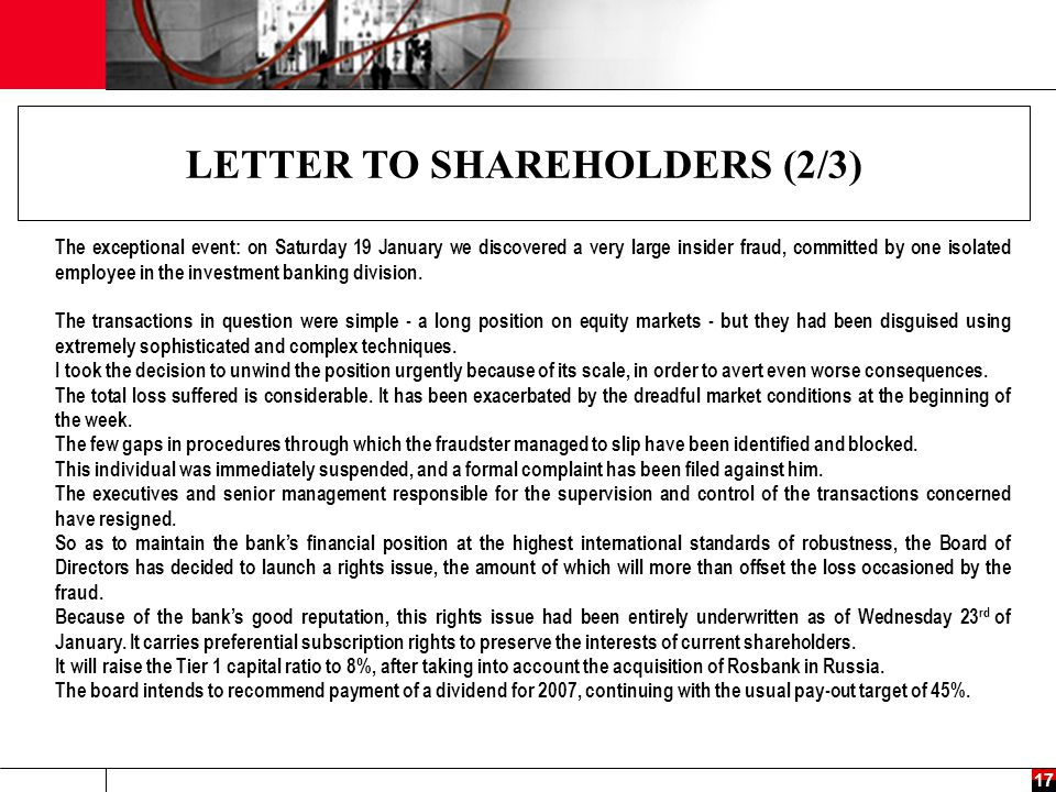 LETTER TO SHAREHOLDERS (2/3)