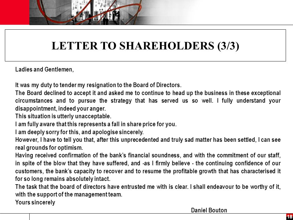 LETTER TO SHAREHOLDERS (3/3)