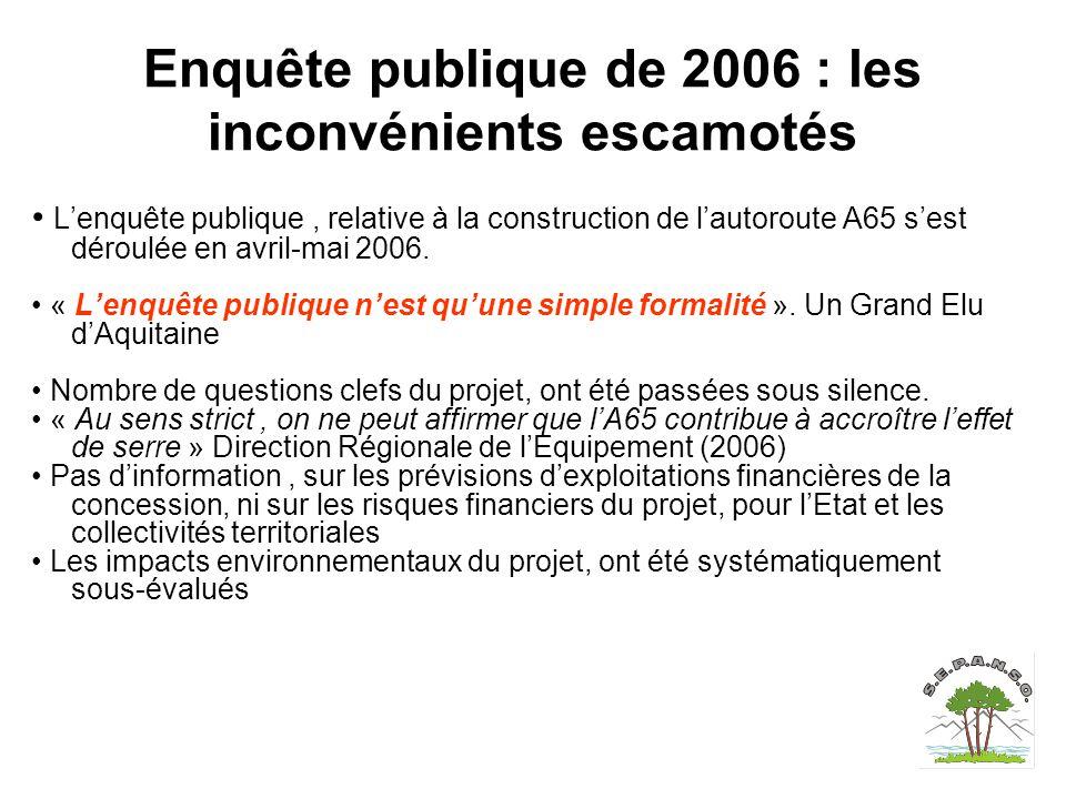Enquête publique de 2006 : les inconvénients escamotés