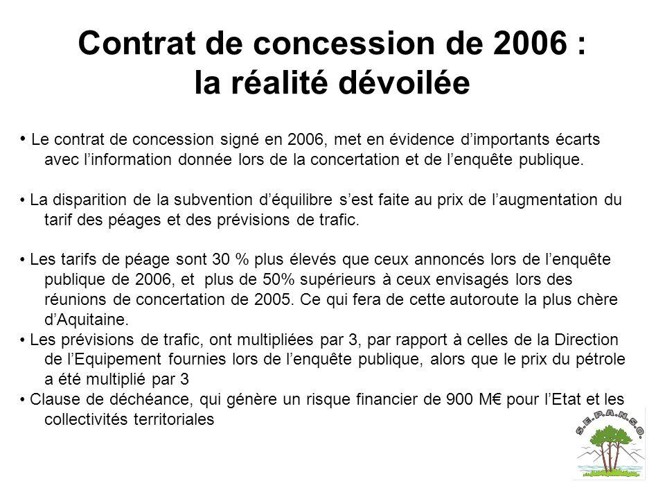Contrat de concession de 2006 : la réalité dévoilée