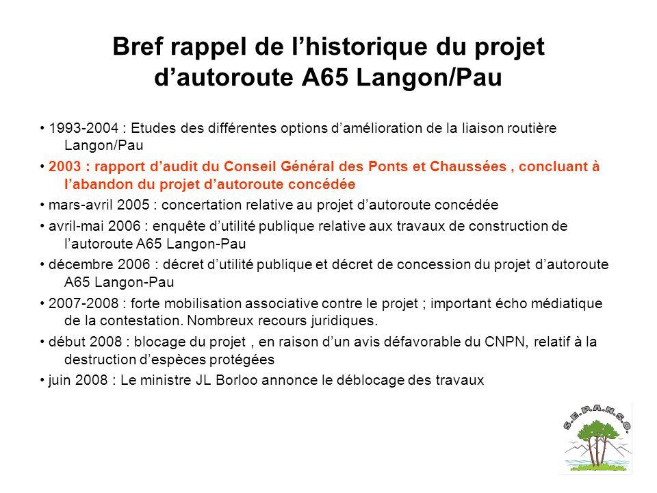Bref rappel de l'historique du projet d'autoroute A65 Langon/Pau