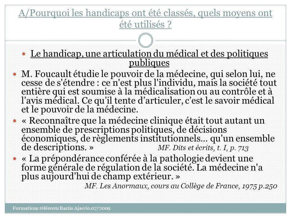Le handicap, une articulation du médical et des politiques publiques