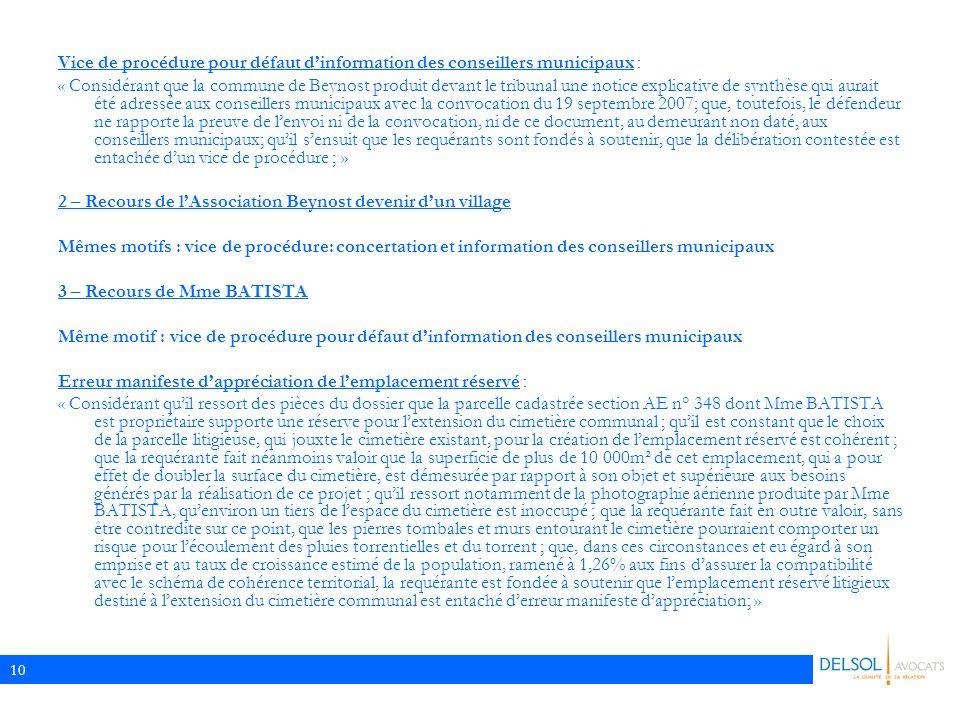Vice de procédure pour défaut d'information des conseillers municipaux :