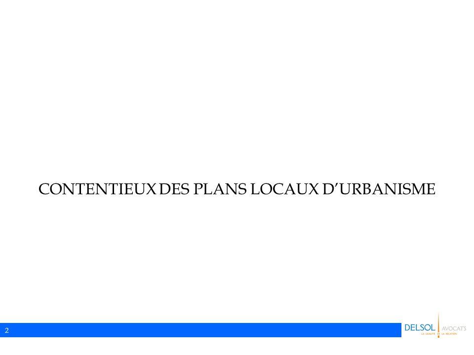 CONTENTIEUX DES PLANS LOCAUX D'URBANISME