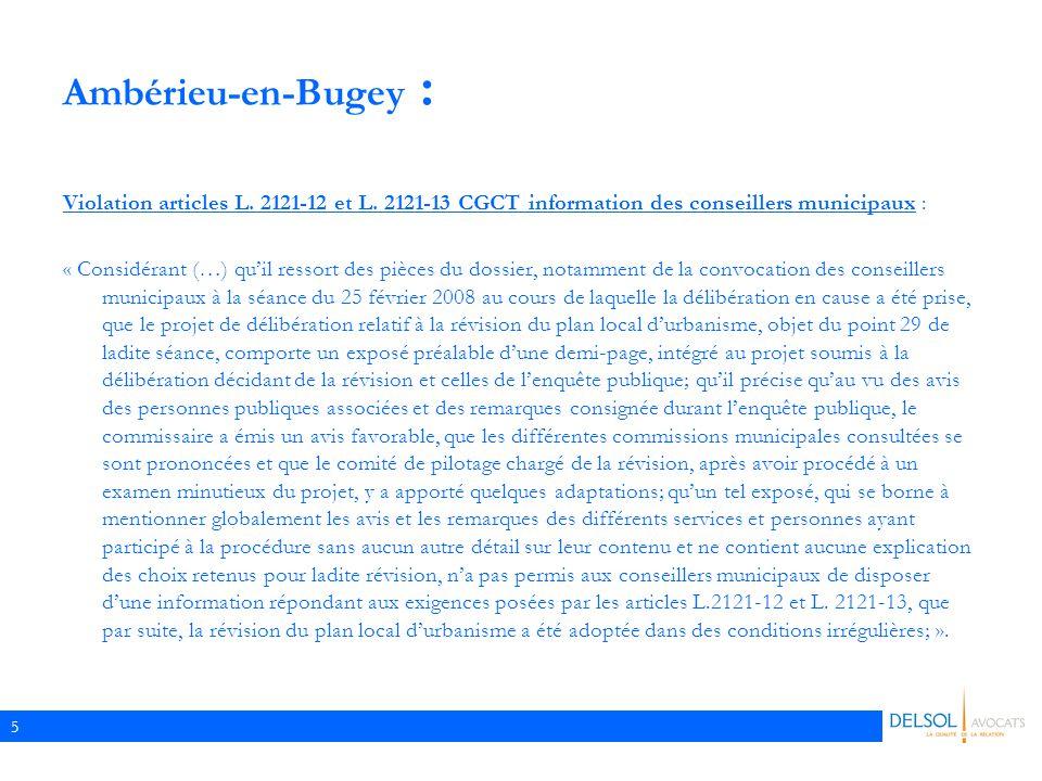 Ambérieu-en-Bugey : Violation articles L. 2121-12 et L. 2121-13 CGCT information des conseillers municipaux :