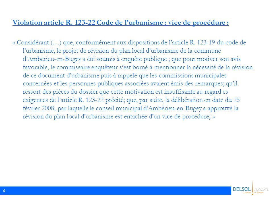 Violation article R. 123-22 Code de l'urbanisme : vice de procédure :