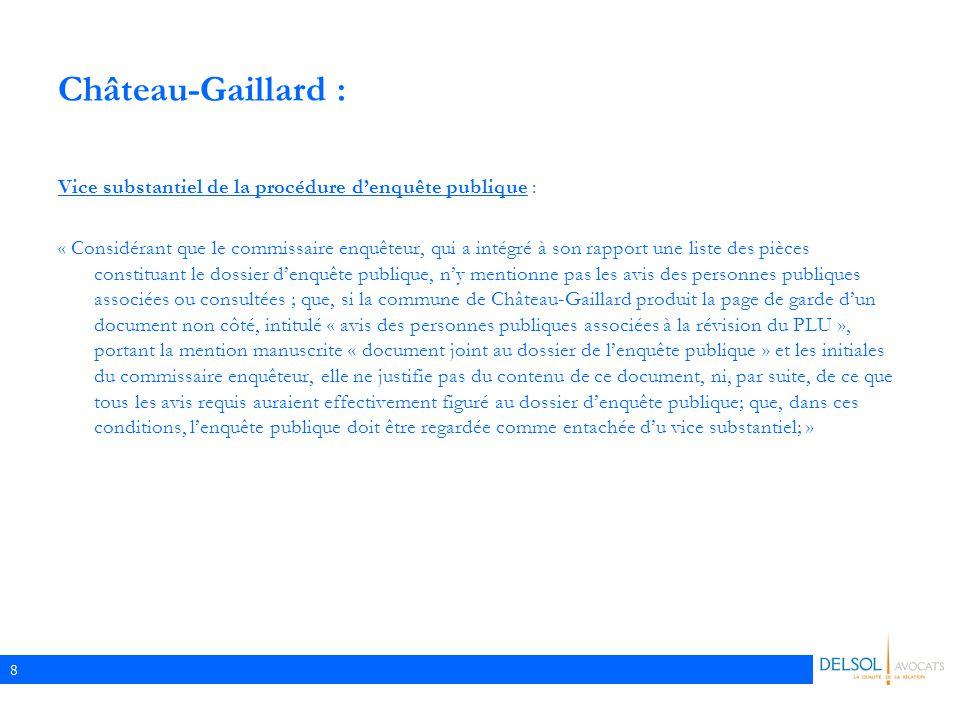 Château-Gaillard : Vice substantiel de la procédure d'enquête publique :