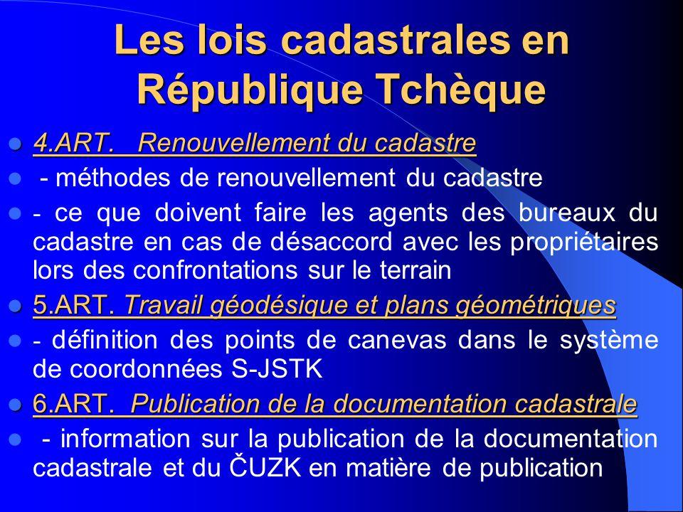 Les lois cadastrales en République Tchèque