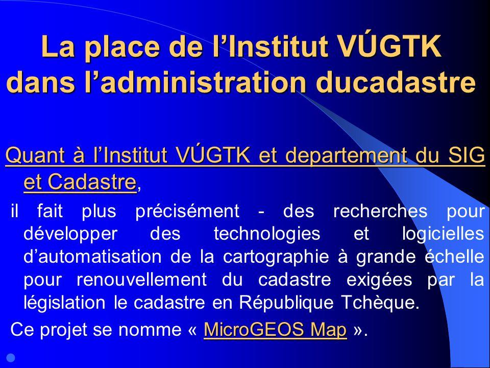 La place de l'Institut VÚGTK dans l'administration ducadastre
