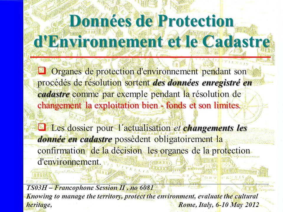 Données de Protection d Environnement et le Cadastre