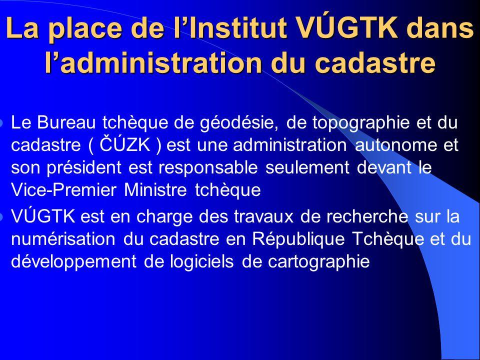 La place de l'Institut VÚGTK dans l'administration du cadastre