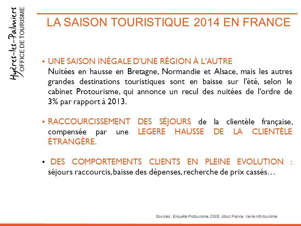 LA SAISON TOURISTIQUE 2014 EN FRANCE