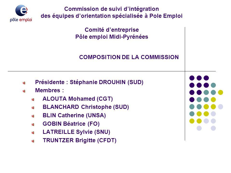 Commission de suivi d'intégration des équipes d'orientation spécialisée à Pole Emploi Comité d'entreprise Pôle emploi Midi-Pyrénées