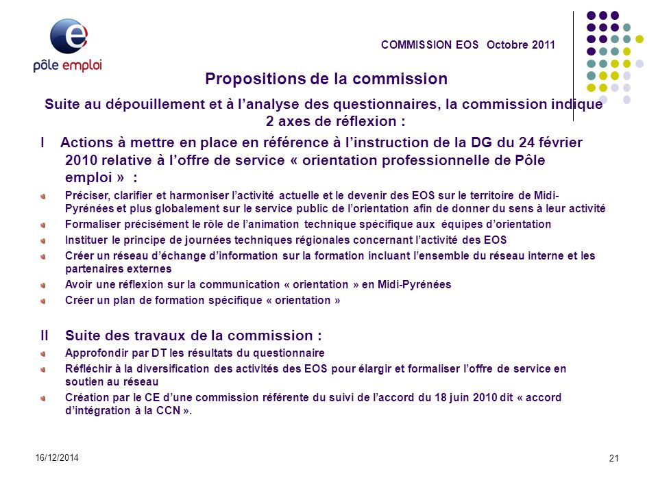 Propositions de la commission