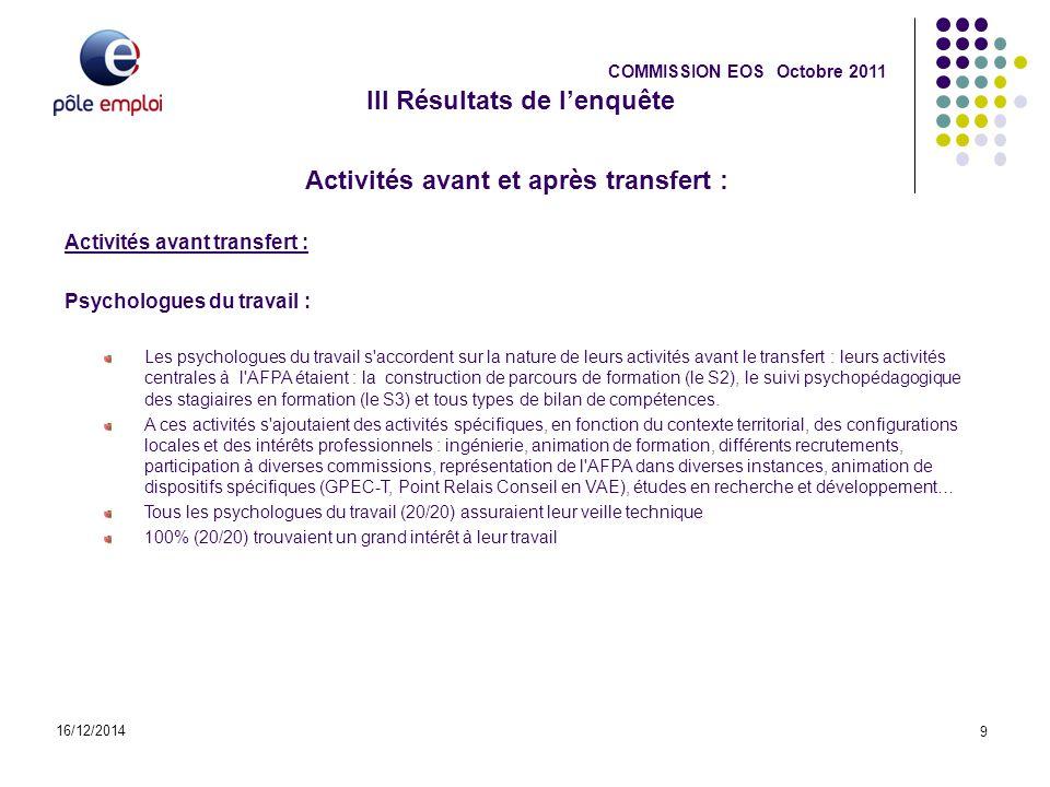 III Résultats de l'enquête Activités avant et après transfert :