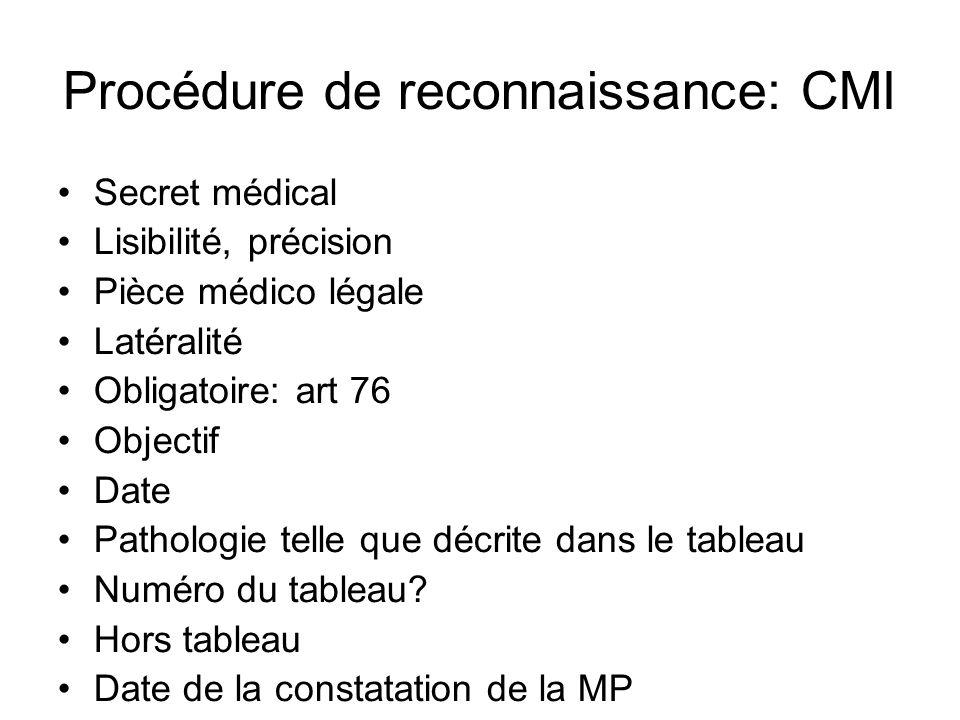 Procédure de reconnaissance: CMI