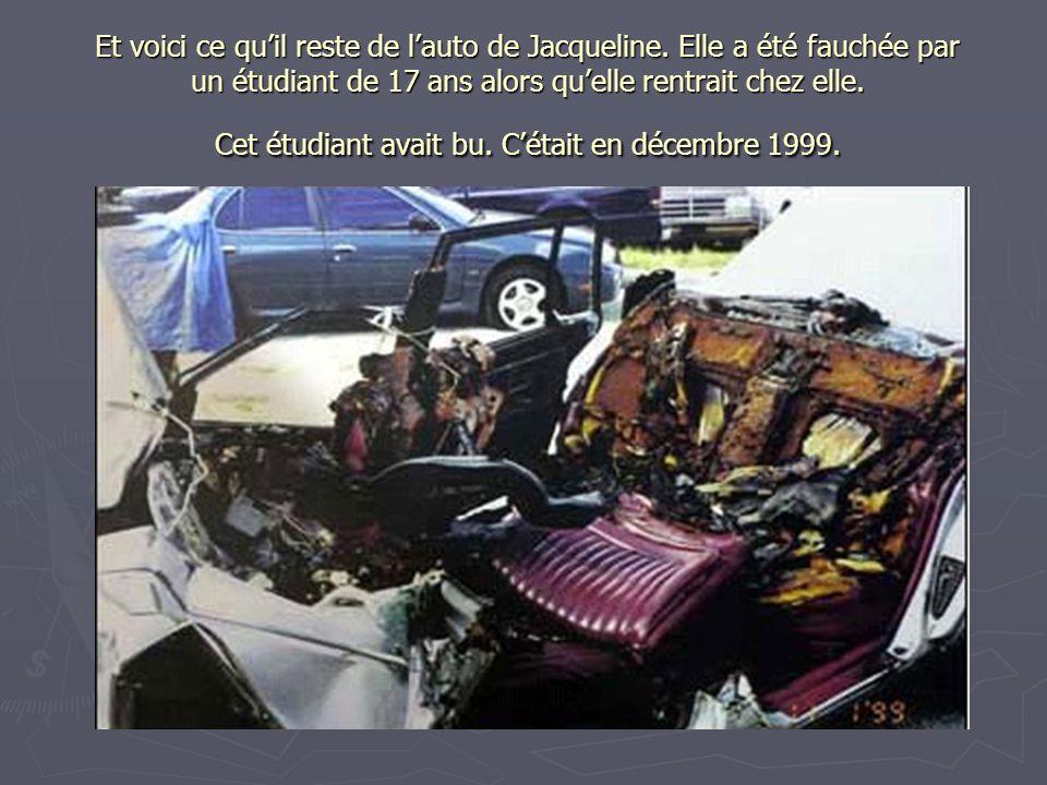 Et voici ce qu'il reste de l'auto de Jacqueline