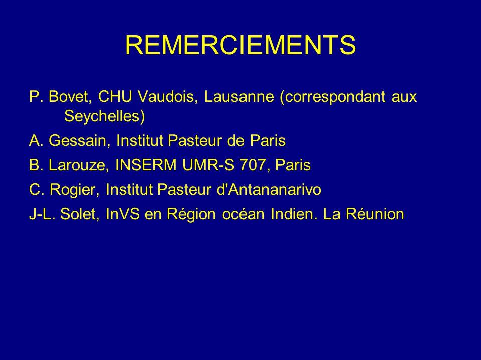 REMERCIEMENTS P. Bovet, CHU Vaudois, Lausanne (correspondant aux Seychelles) A. Gessain, Institut Pasteur de Paris.