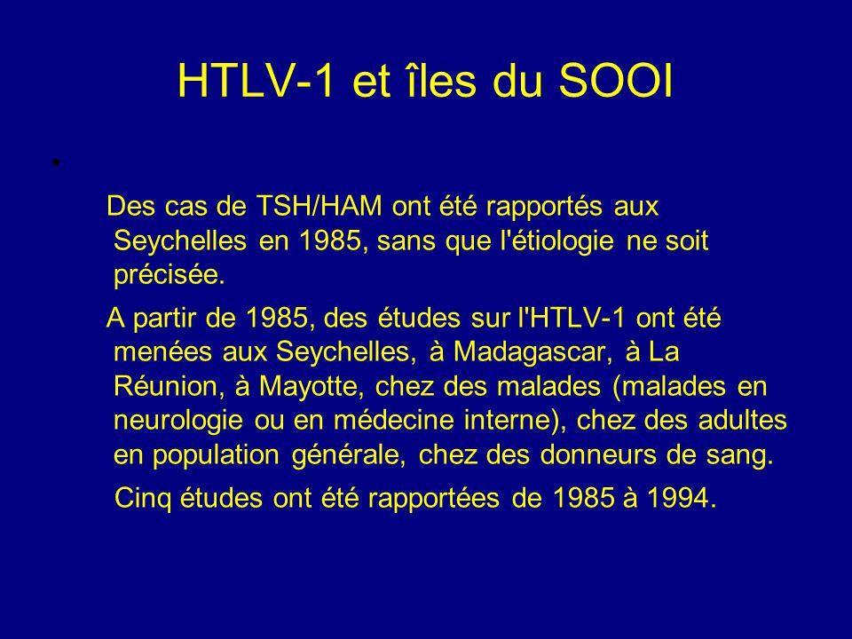 HTLV-1 et îles du SOOI Des cas de TSH/HAM ont été rapportés aux Seychelles en 1985, sans que l étiologie ne soit précisée.