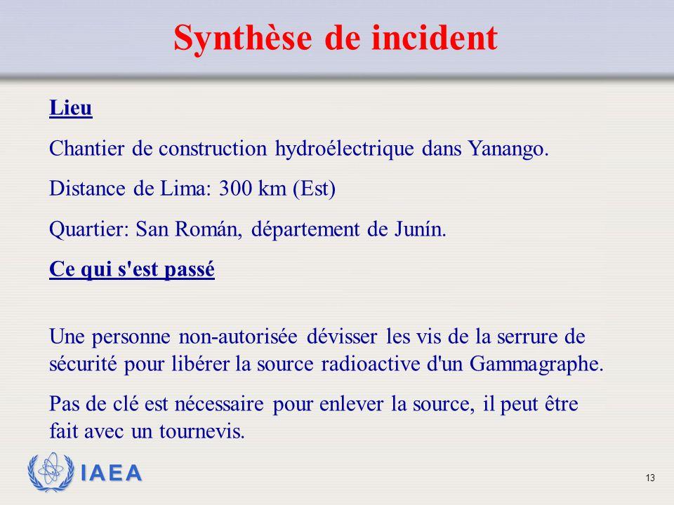 Synthèse de incident Lieu