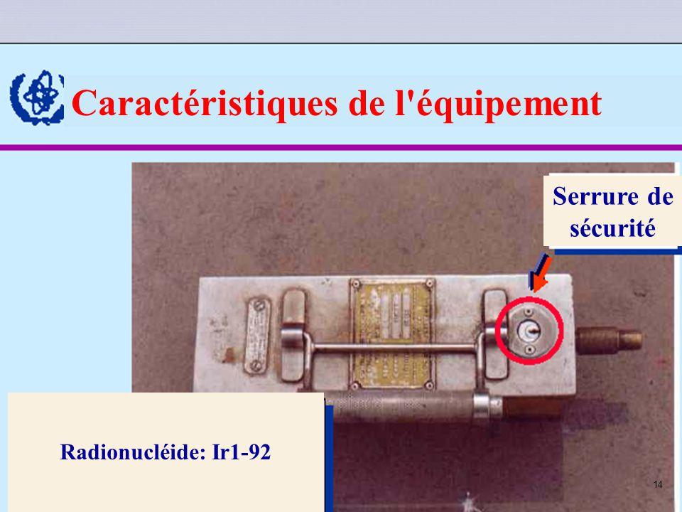 Caractéristiques de l équipement