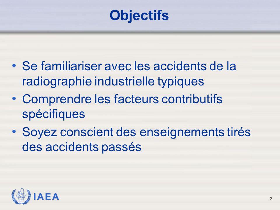 Objectifs Se familiariser avec les accidents de la radiographie industrielle typiques. Comprendre les facteurs contributifs spécifiques.