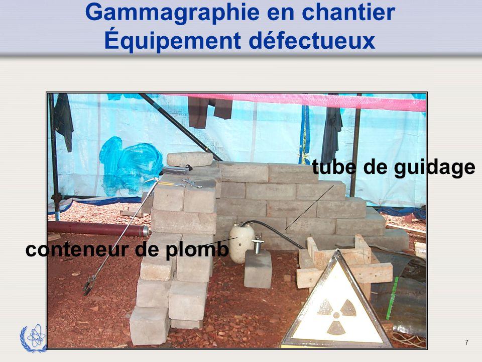 Gammagraphie en chantier Équipement défectueux