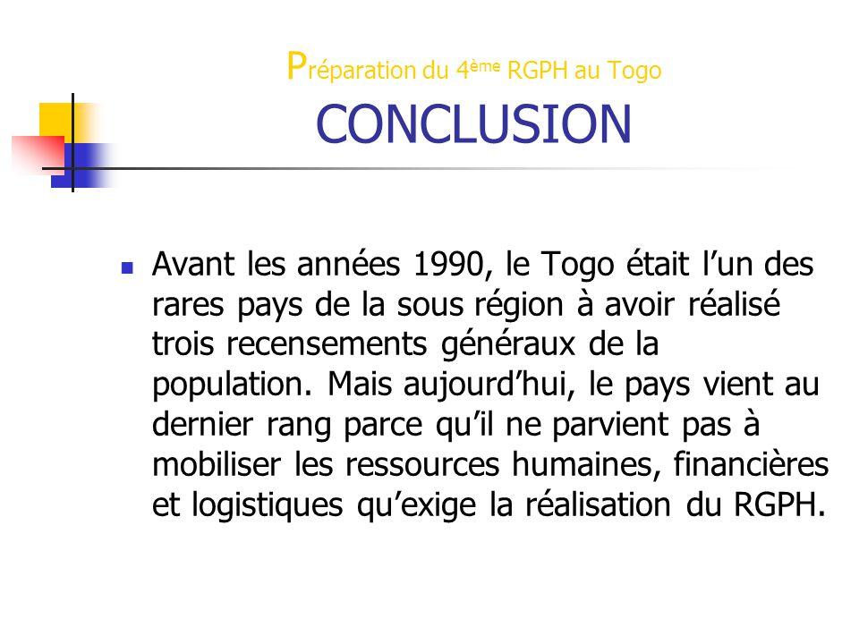 Préparation du 4ème RGPH au Togo CONCLUSION