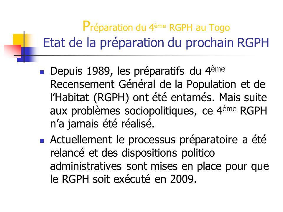Préparation du 4ème RGPH au Togo Etat de la préparation du prochain RGPH