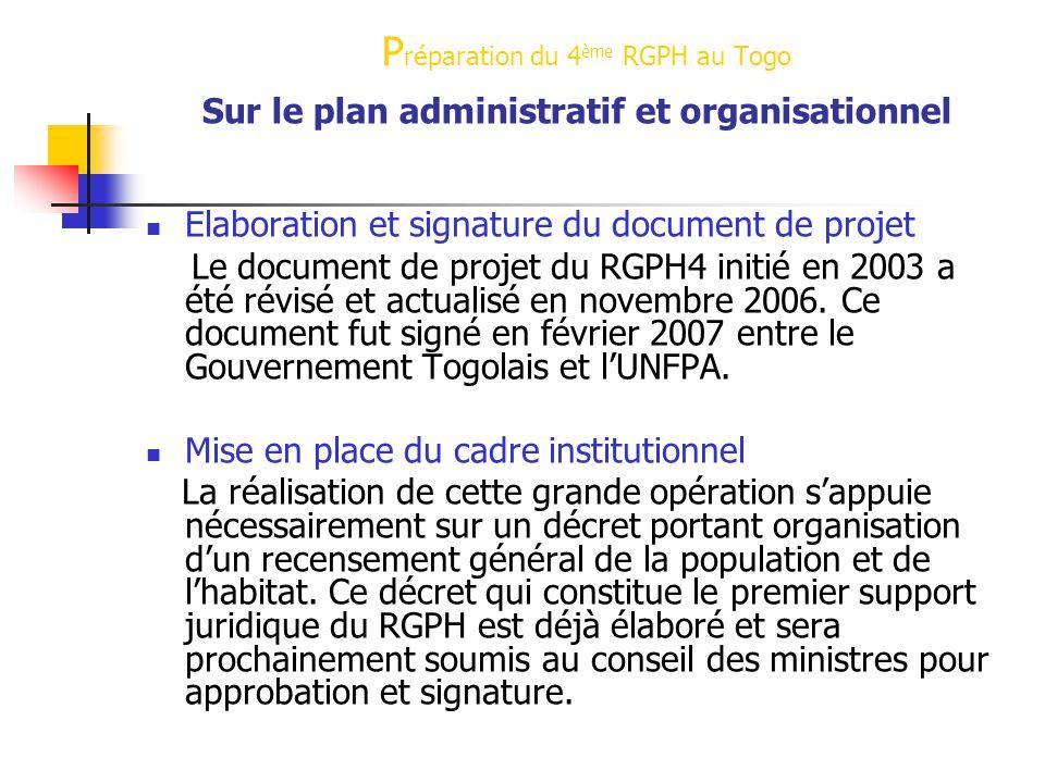 Préparation du 4ème RGPH au Togo Préparation du 4ème RGPH au Togo Sur le plan administratif et organisationnel