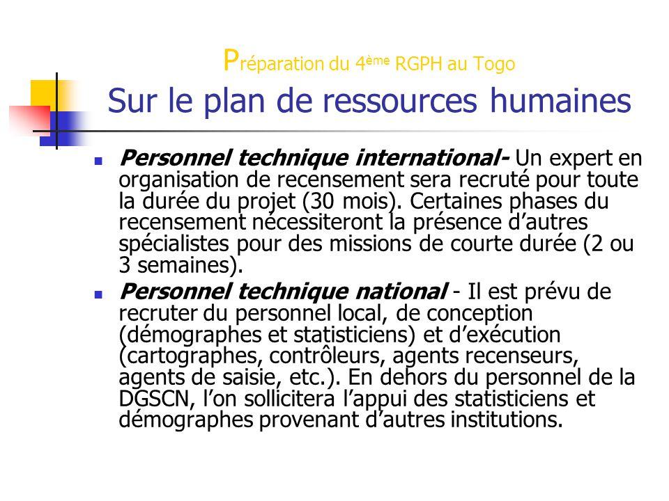 Préparation du 4ème RGPH au Togo Sur le plan de ressources humaines