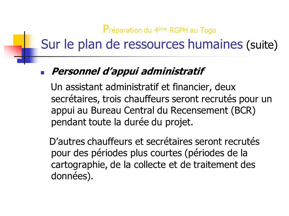 Préparation du 4ème RGPH au Togo Sur le plan de ressources humaines (suite)