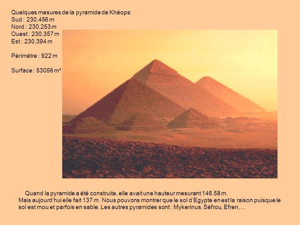 Quelques mesures de la pyramide de Khéops: